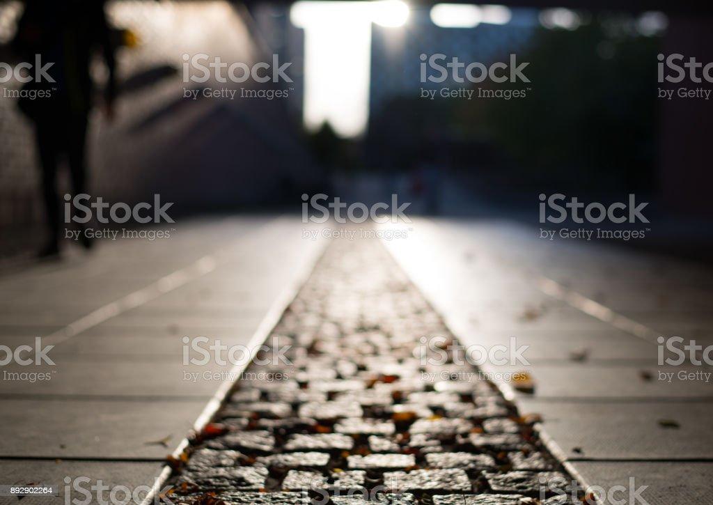 Fall cobblestone road and sunset stock photo