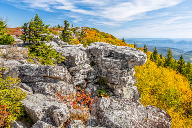 fall color at bear rocks - outcrop stock pictures, royalty-free photos & images
