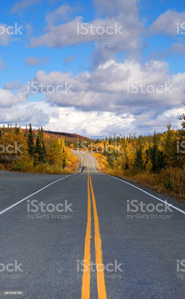 Fall Color Autumn Landscape Alaska Two Lane Road Highway stock photo