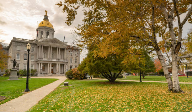 Fall Color Autumn Leaves Statehouse Grounds Concord New Hampshire stock photo