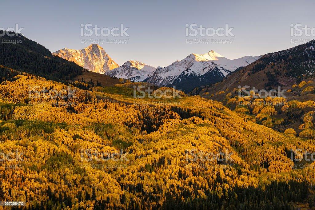Fall color Capital Peaks, snowmass village, Colorado stock photo