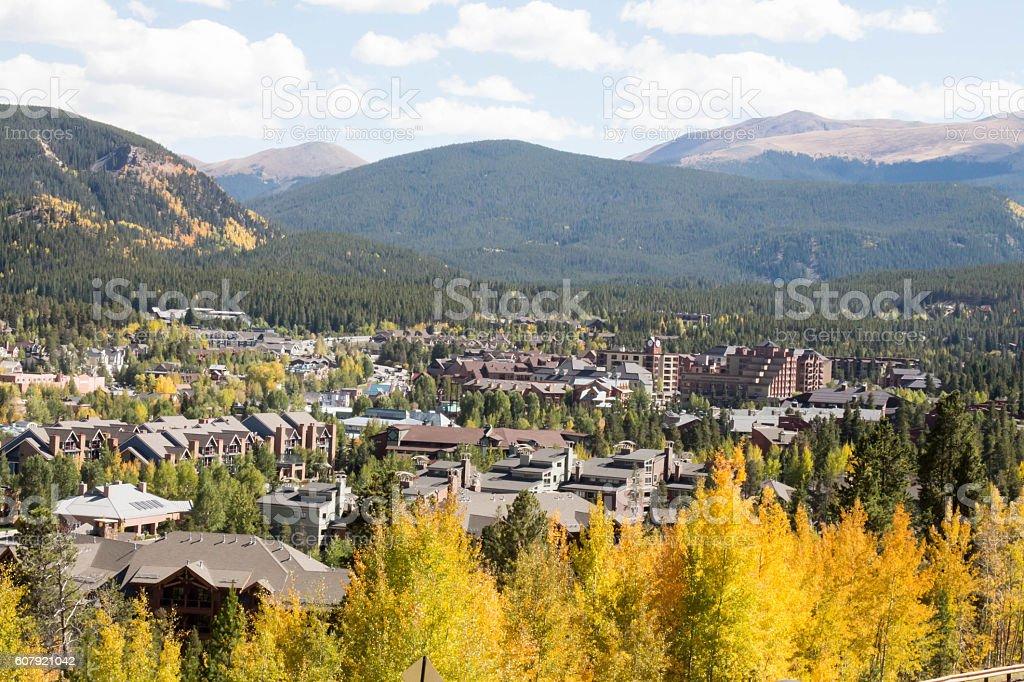 Fall color in the mountain town of Breckenridge, Colorado stock photo
