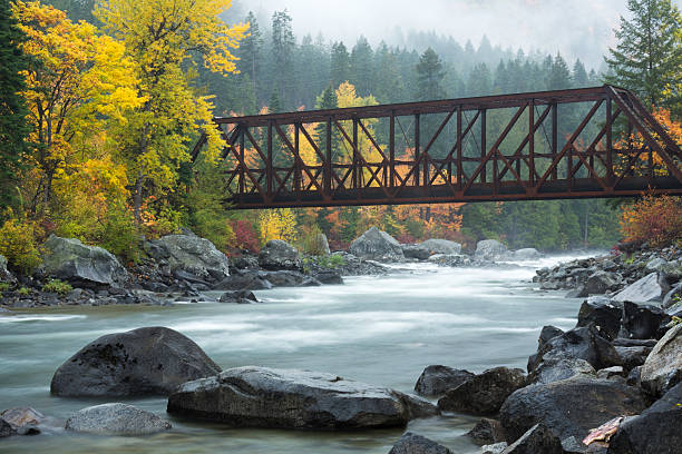 fall color of tumwater canyon - leavenworth washington stock photos and pictures