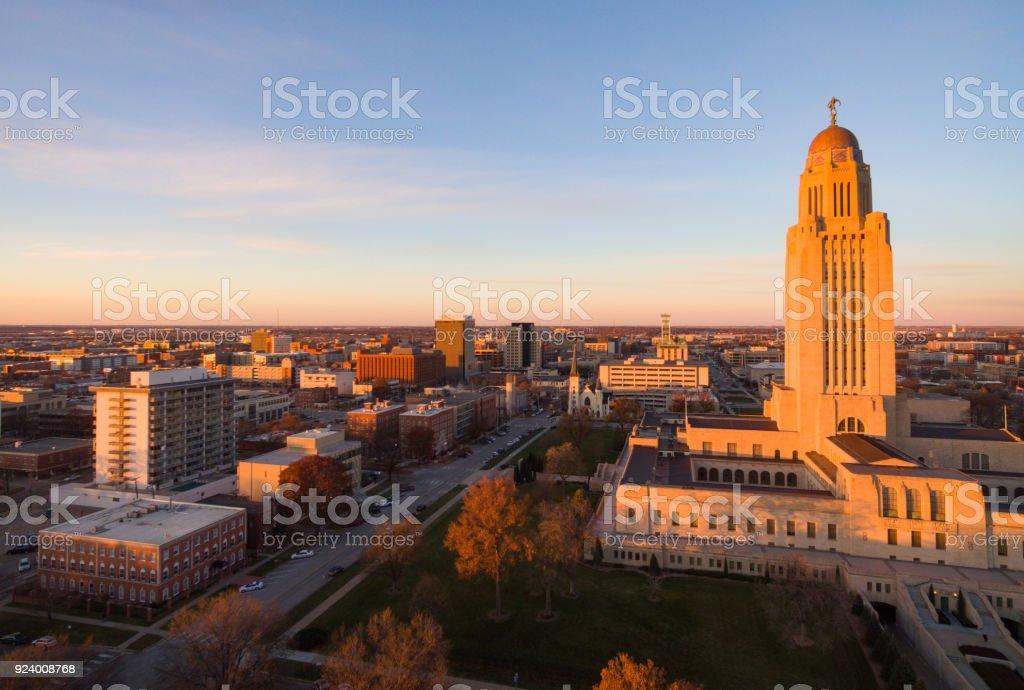 Fall Color Orange Tree Leaves Nebraska State Capital Lincoln stock photo