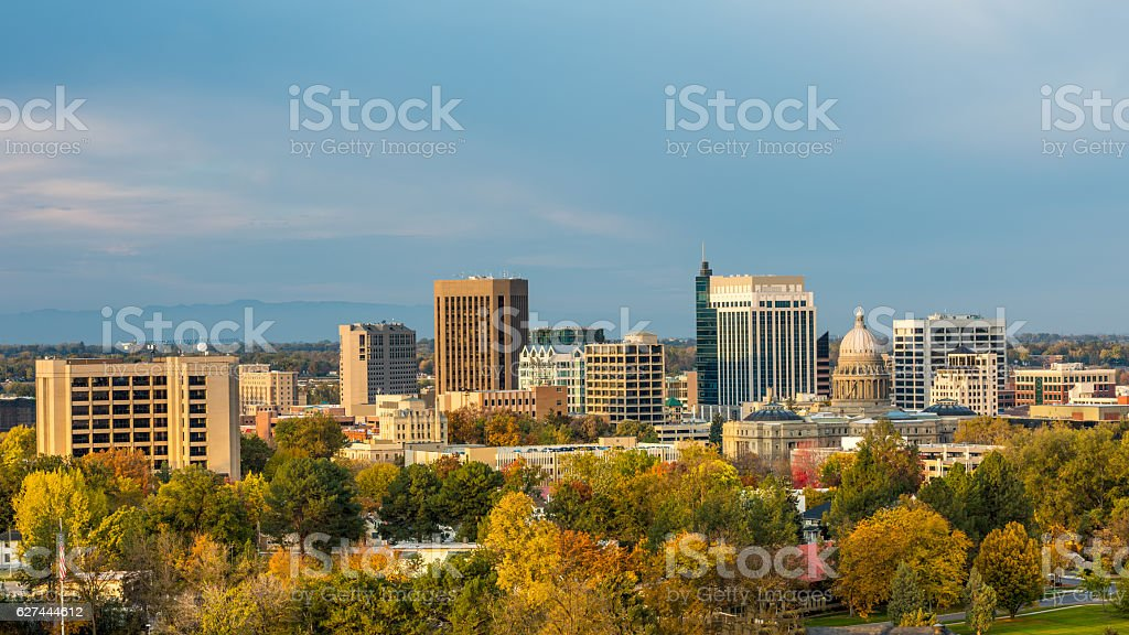 Fall colores in the city of trees Boise stock photo