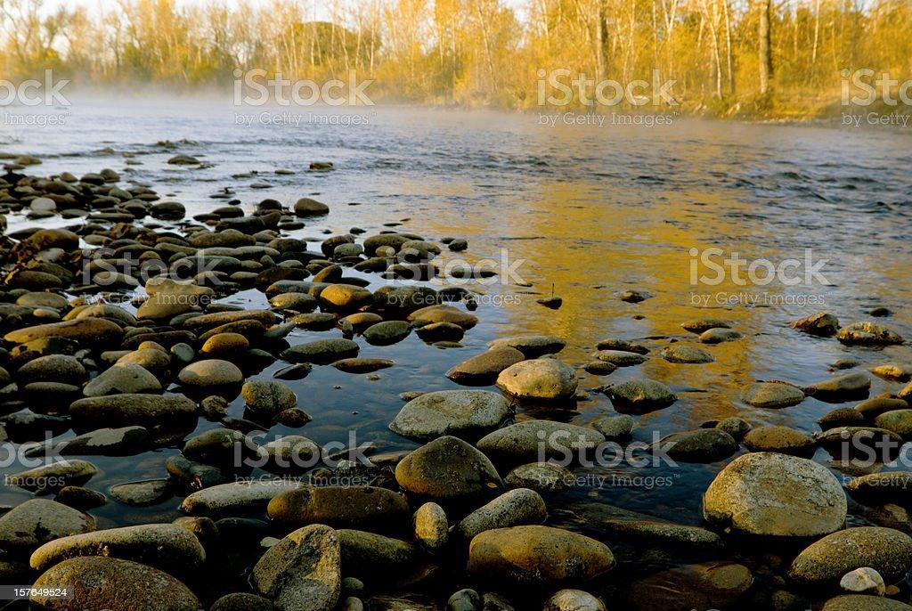 Fall colors along Boise River stock photo