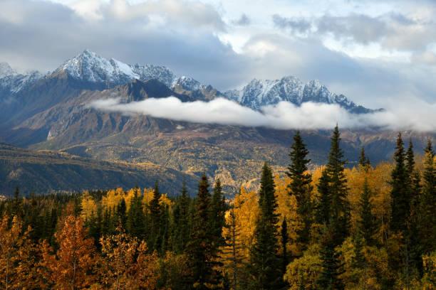 Fall colors along the Matanuska Valley stock photo