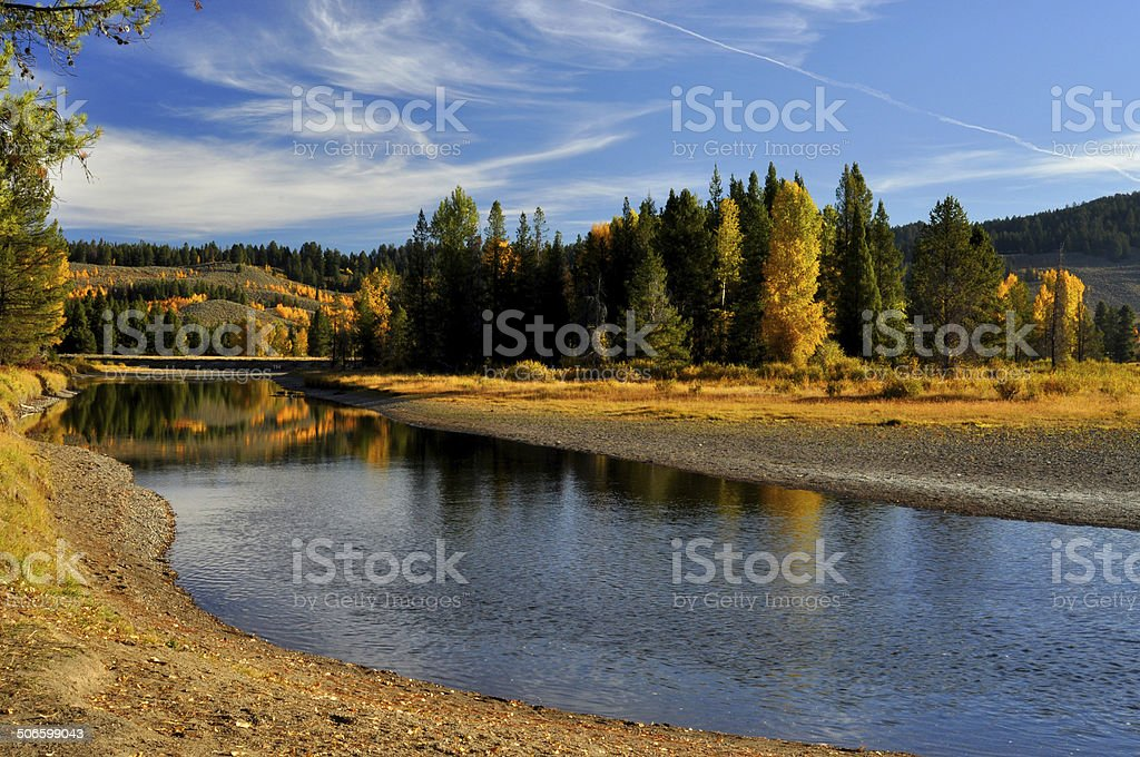 Fall colors along the Snake River. royalty-free stock photo