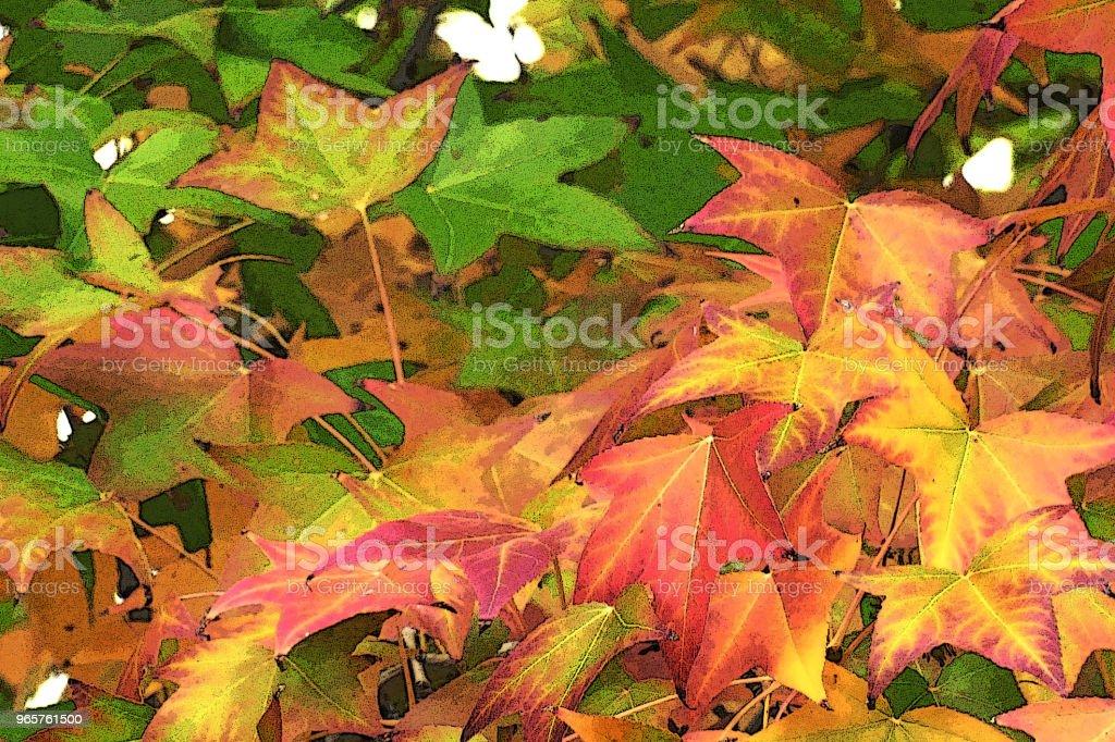 GARDEN SCENE val kleuren close-up bladeren - Royalty-free Aangelegd Stockfoto