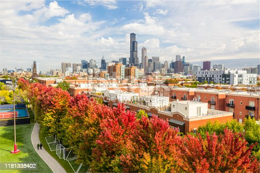852738732istockphoto Fall Colors In Chicago - Aerial View 1181338402