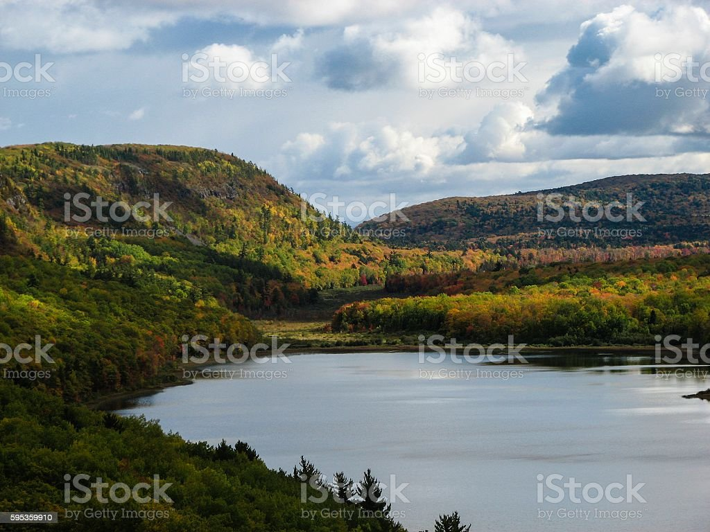 Fall Colors in Michigan's Porcupine Mountains stock photo