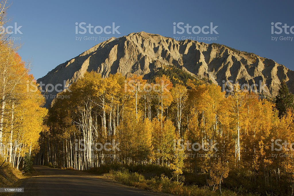 Fall colors in Rocky Mountains stock photo