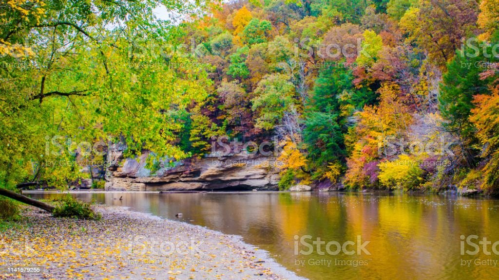 Fall colors line the banks of a river stock photo