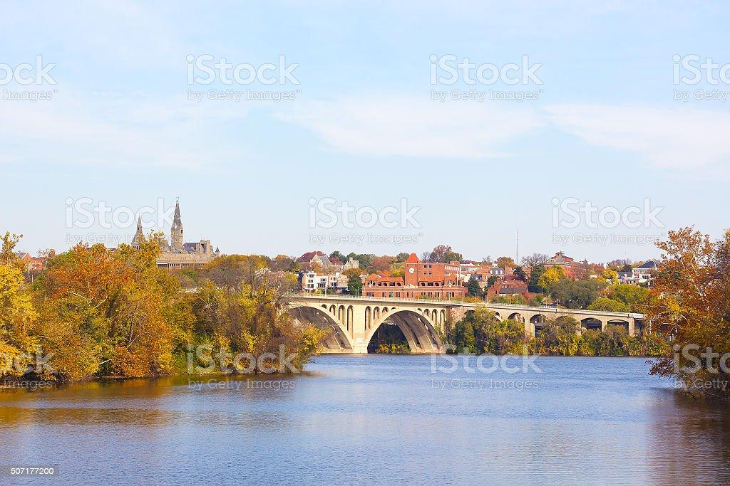 Fall colors of Potomac riverside in Washington DC, USA. stock photo