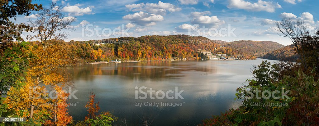 Fall colors on Cheat Lake Morgantown stock photo