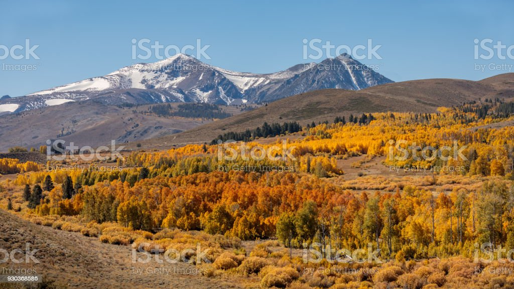 Fall Colors on Conway Summit - Eastern Sierra - California stock photo