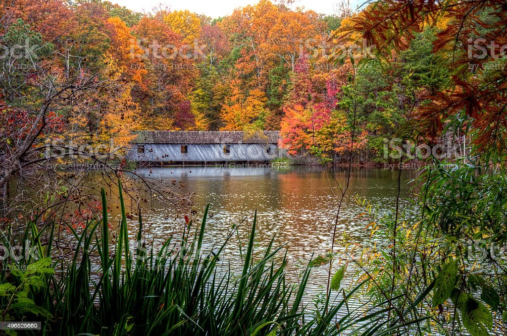 Fall colors over covered bridge stock photo
