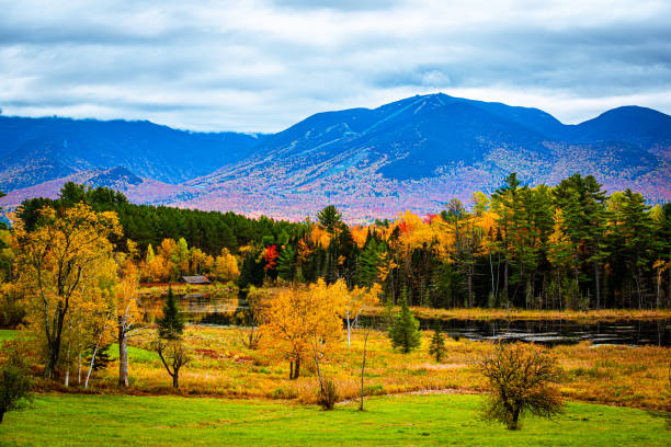 Fall colors with a pond and ski mountain Overlooking a pond with with a forest and mountain range in the background. White Mountains National Forest, New Hampshire white mountain national forest stock pictures, royalty-free photos & images