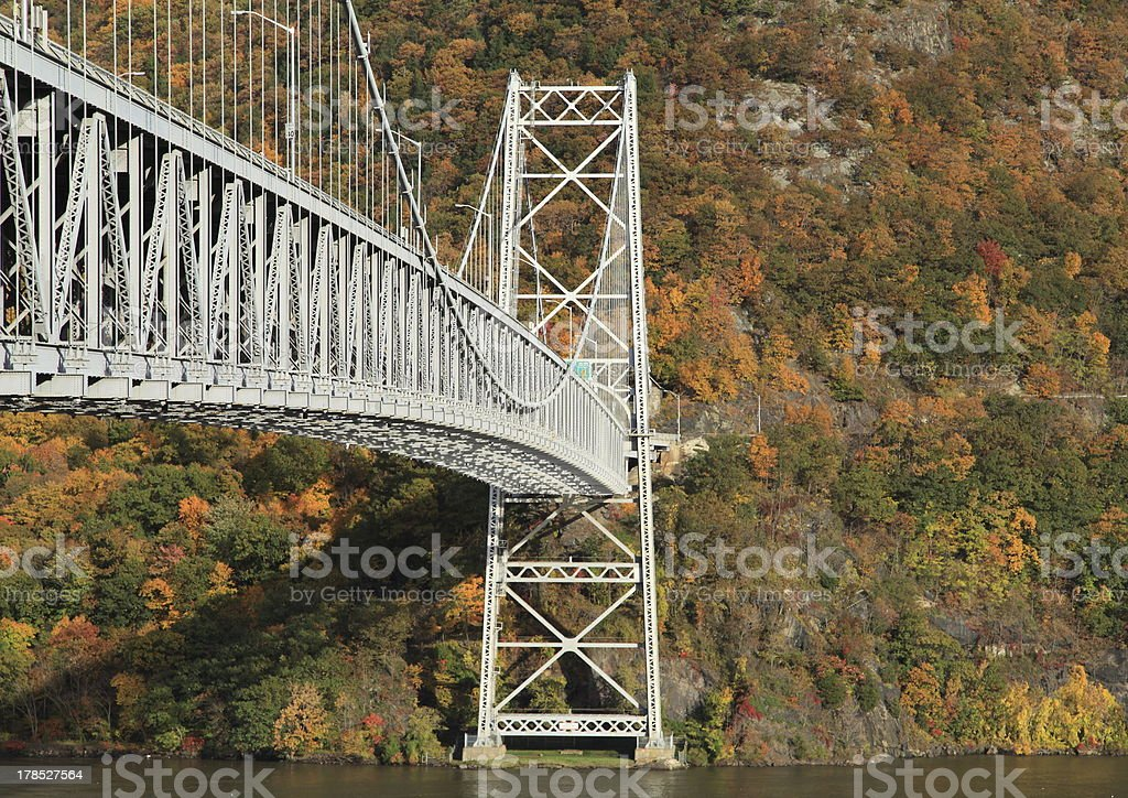 Fall colors with bridge in foreground stock photo
