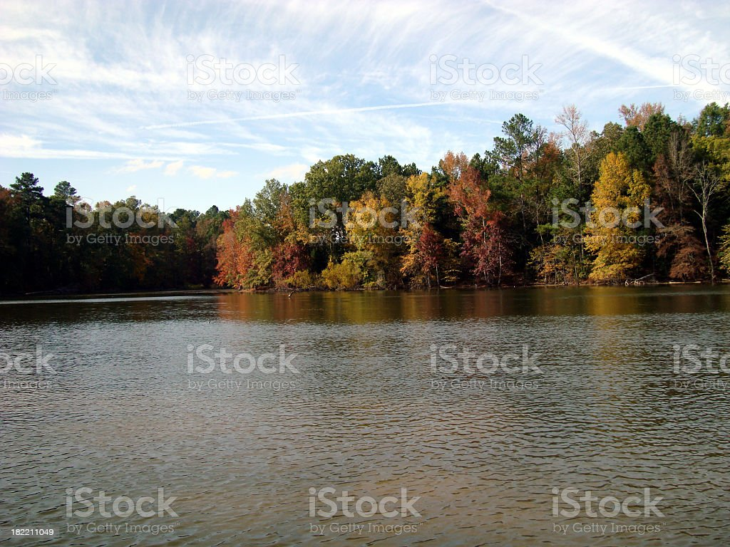 Fall Colors With Cloud Scape Lake Murry South Carolina royalty-free stock photo