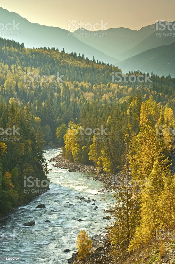 Fall colours along the Fraser River stock photo