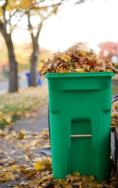 Fall Composting Can Filled with Leaves stock photo
