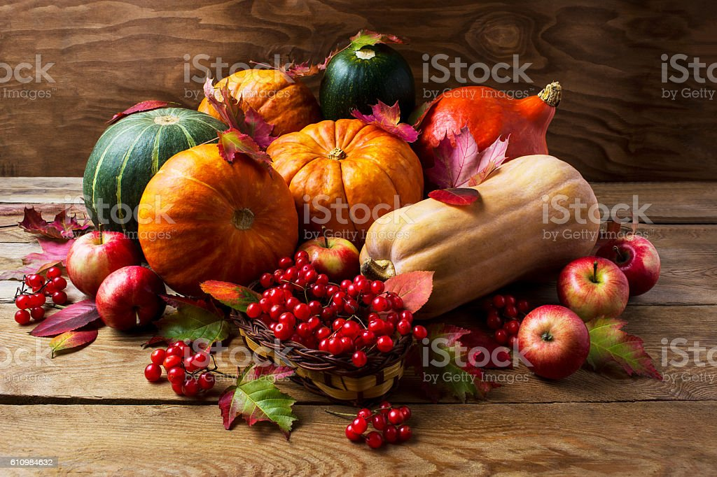 Fall concept with pumpkins, apples and berries stock photo