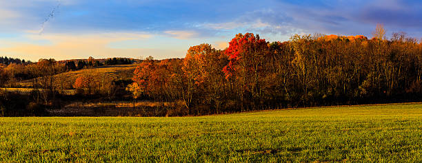 Fall country scene with changing colors near Troy NY, Hudson stock photo