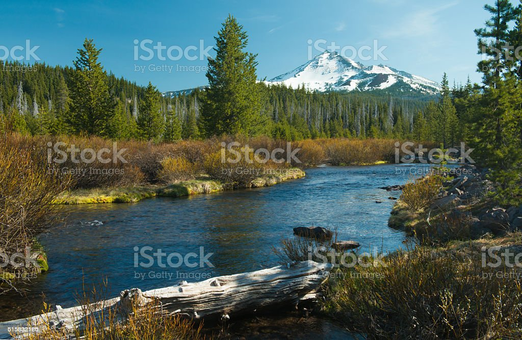 Fall Creek and Broken Top in Central Oregon, USA stock photo