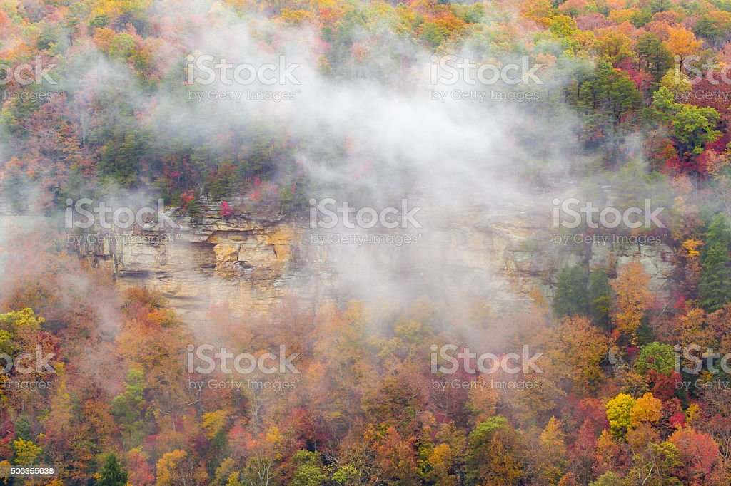 Fall Creek Falls Cloud and Cliff stock photo