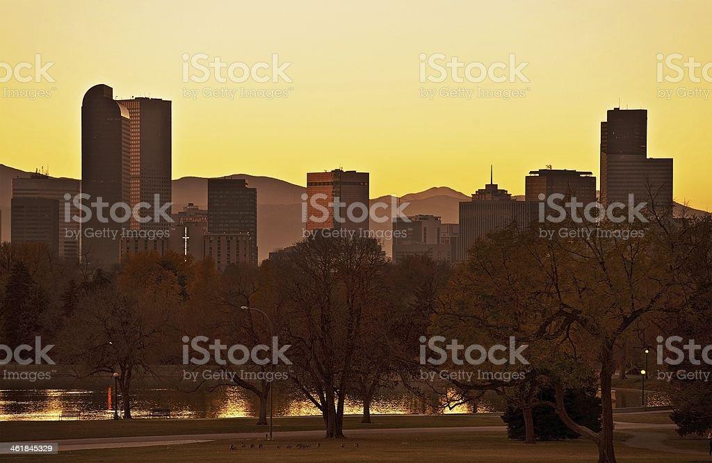 Fall Denver Sunset stock photo