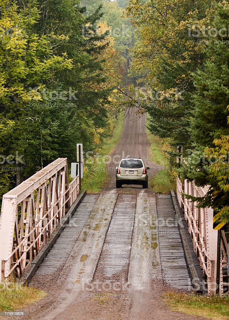 Fall Drive in the Forest royalty-free stock photo