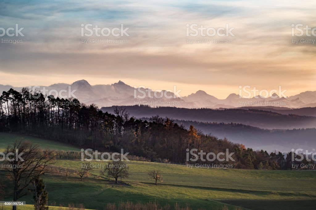 Fall Evening Landscape stock photo