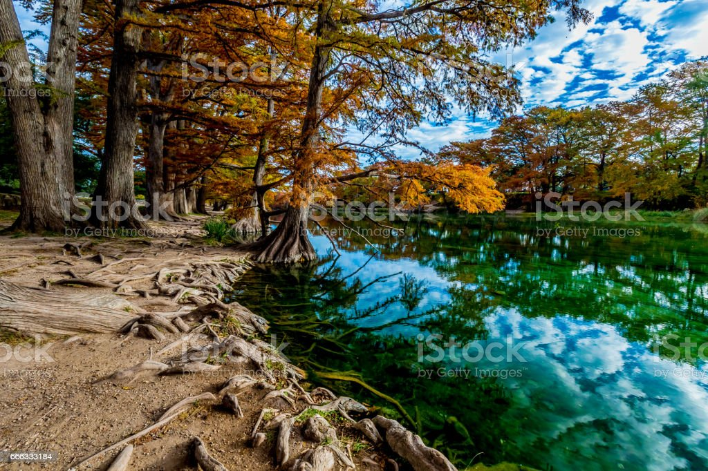 Fall Foliage and Clear Water at Garner State Park, Texas stock photo