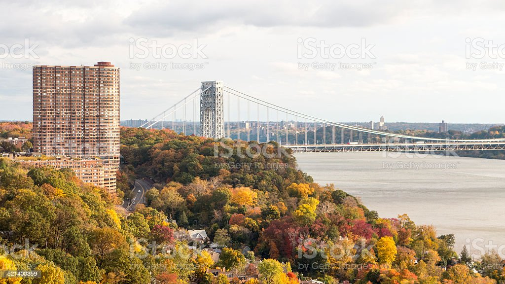 Fall Foliage and George Washington Bridge stock photo