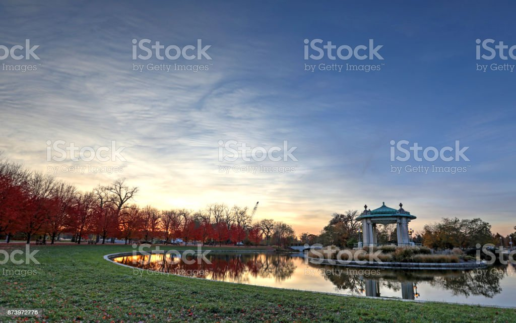 Fall foliage around the Forest Park bandstand in St. Louis, Missouri stock photo