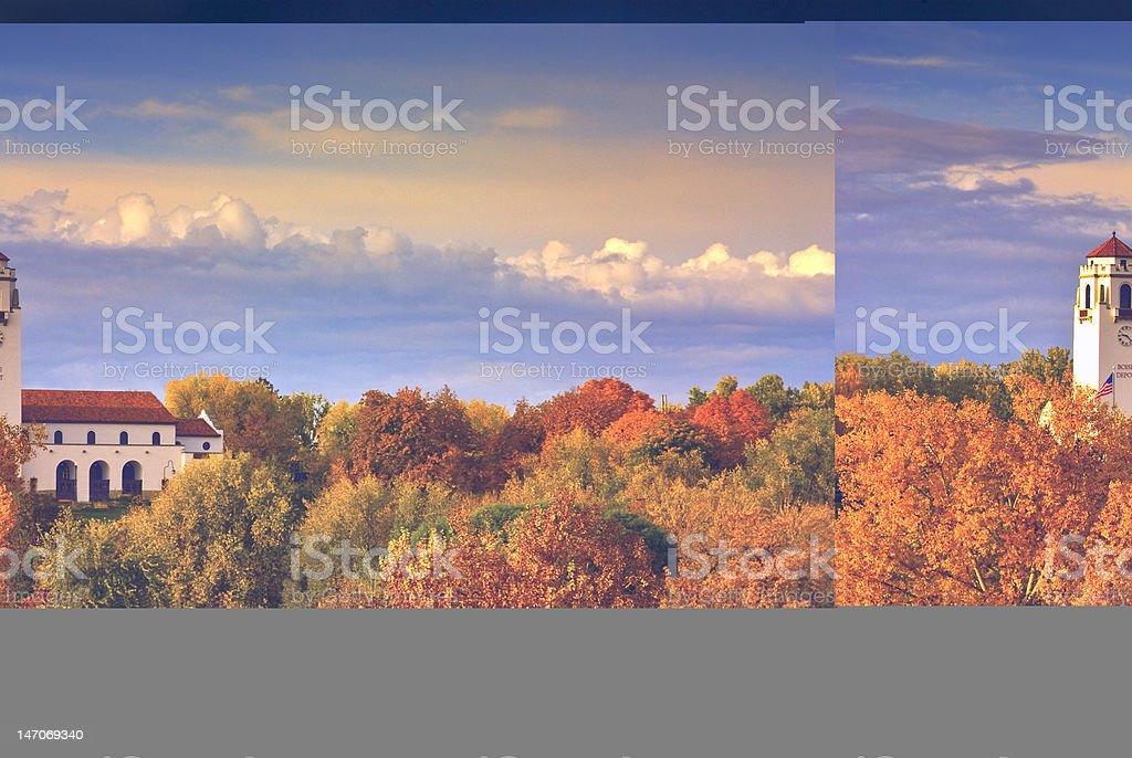 Fall foliage at Boise train depot stock photo