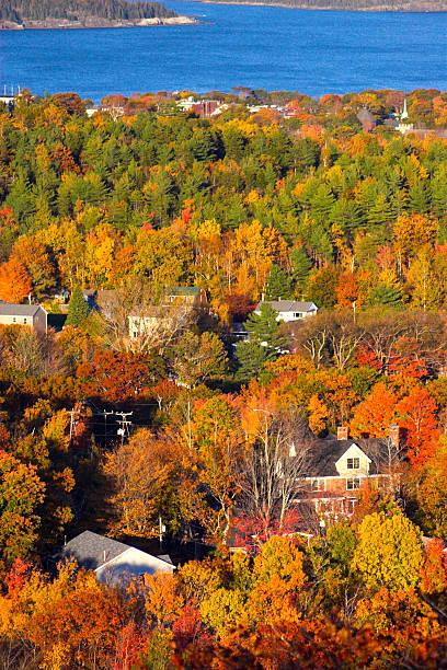 Fall foliage colors in Bar Harbor stock photo
