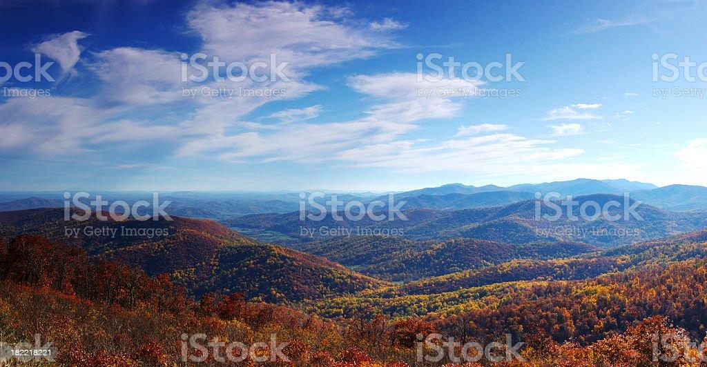 Fall foliage on the mountainside stock photo
