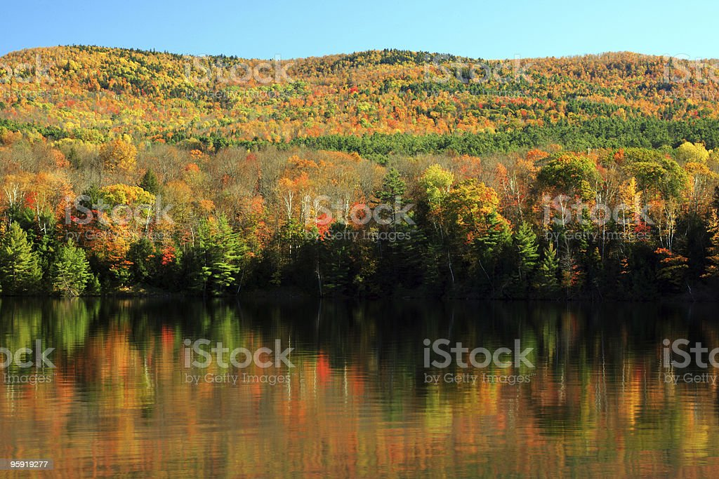 Fall foliage reflection off the Connecticut River royalty-free stock photo