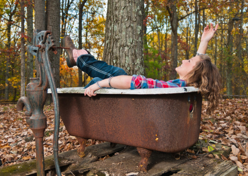 Fall Fun in Outdoor Tub