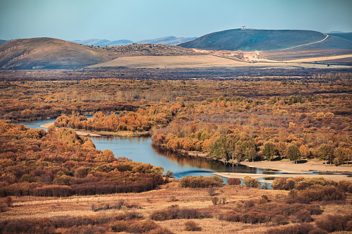 Fall Genhe wetlands in Inner mongolia, northernChina