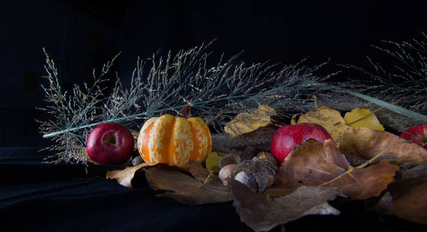 Fall Harvest Gourds, Apples and Leaves stock photo