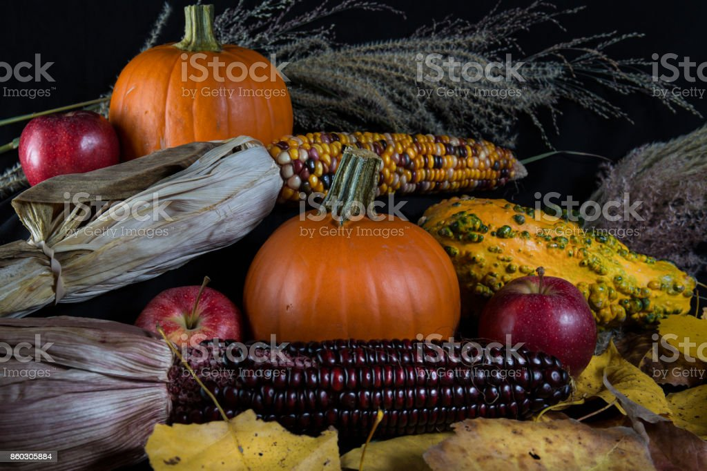 Fall Harvest with Pumpkins and Apples stock photo