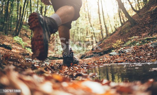 Close up of hiker boots crossing mountain forest stream in autumn. Low angle view of hiker walking, copy space.