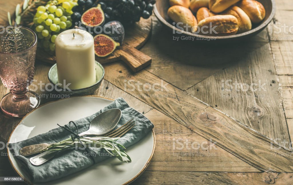 Fall holiday table decoration setting with copy space royalty-free stock photo