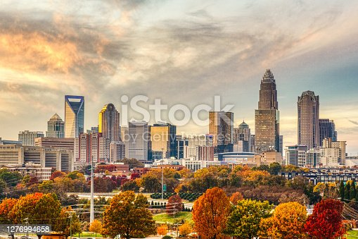 Beautiful fall leaves accent the Charlotte skyline on a cool November day.