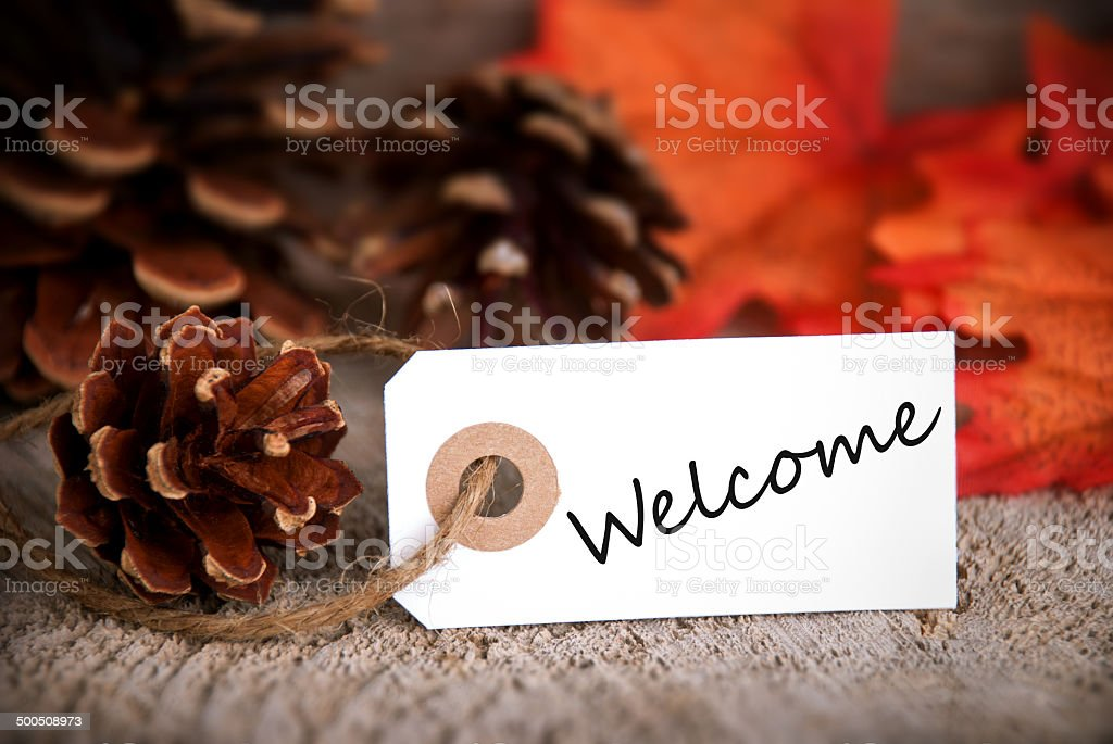 Fall Label with Welcome stock photo