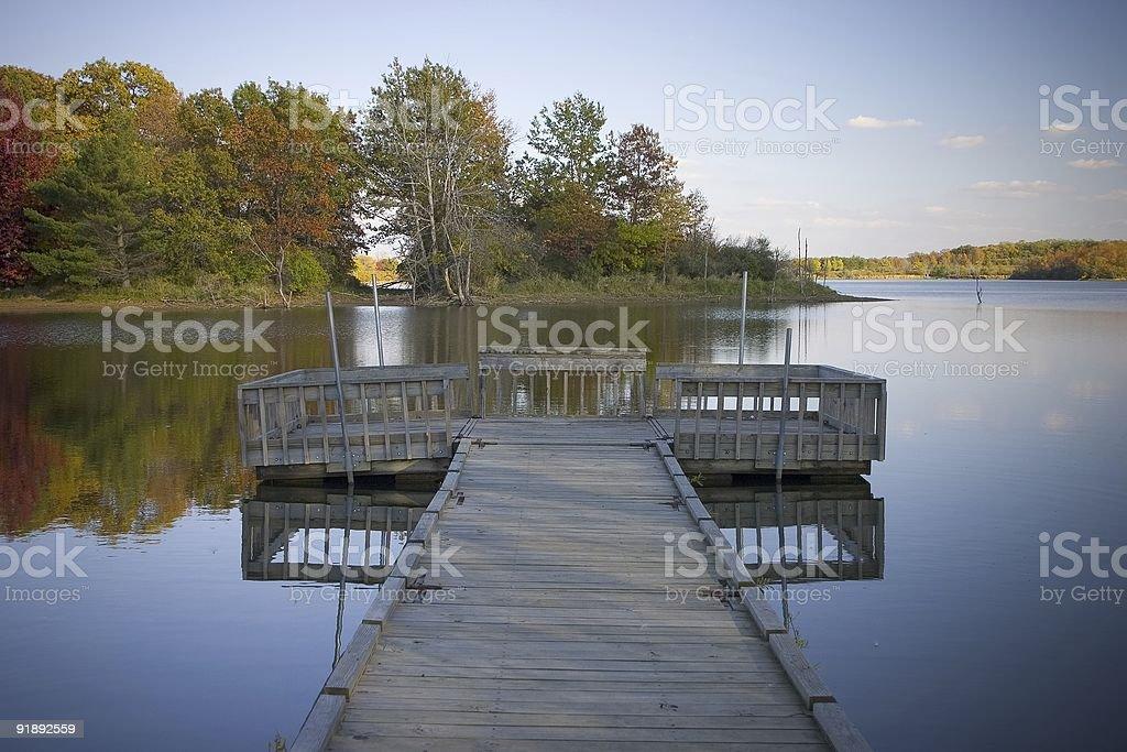Fall Lake Dock royalty-free stock photo