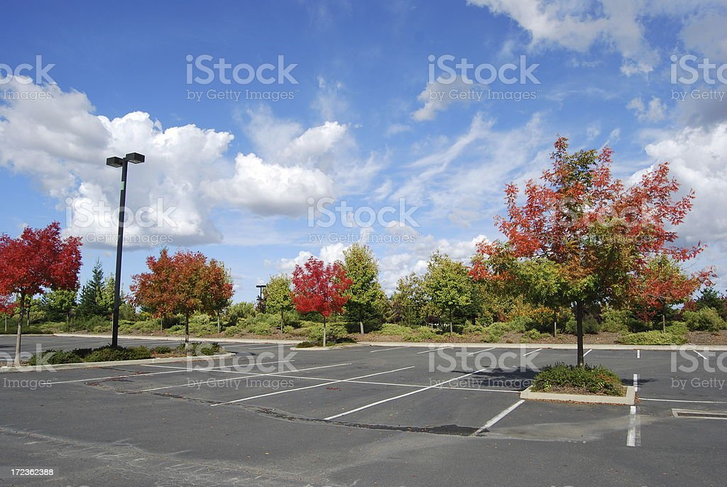 Fall Landscape in an empty parking lot royalty-free stock photo